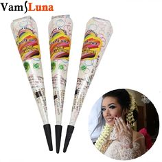 3X White Cones Tattoo Ink Tube For Bridal Decor Wedding Body Art //Price: $15.00 & FREE Shipping // #gold_tattoos