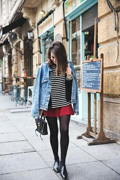 Vintage_Levis-Red_Skirt-Striped_Top-Loafers-Street_Style-Outfit-3 by collagevintageblog, via Flickr