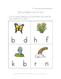 Spring Beginning Letters Worksheet - circle the letter that begins each word.
