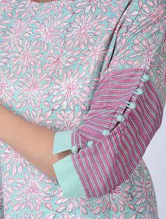 Sleeve pattern Blue Block-printed Cotton Kurta with Slip (Set of Salwar Designs, Churidar Neck Designs, Simple Kurti Designs, New Kurti Designs, Kurta Designs Women, Neck Designs For Suits, Sleeves Designs For Dresses, Dress Neck Designs, Sleeve Designs
