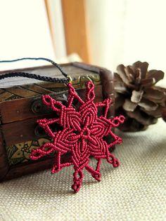 Burgundy mandala flower star micro macramé pendant necklace