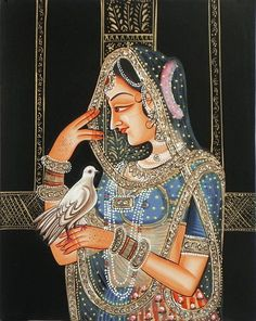 Stone Studded Miniature Painting of Rajput Princess Holding Pigeon (Miniature Painting on Cardboard - Unframed) Indian Women Painting, Indian Art Paintings, Madhubani Art, Madhubani Painting, Traditional Paintings, Traditional Art, Rajasthani Art, Rajasthani Painting, Dance Paintings