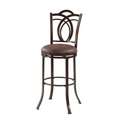 Khalifah Sturdy Metal Swivel Bar Stool with Coffee Brown Seat and Decorative Back design