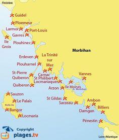 Carte des plages du Morbihan 56 en Bretagne