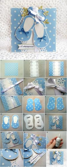 DIY Baby Cards : DIY Cute Baby Shoes Themed Card