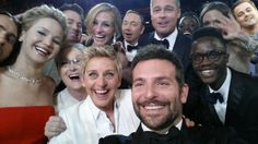 "Ellen at the Oscars surrounded by Meryl Streep, Jennifer Lawrence, Julia Roberts, Angelina Jolie, Kevin Spacey and Brad Pitt was taken by American Hustle star Bradley Cooper and titled: ""If only Bradley's arm was longer. Best photo ever. Kevin Spacey, Julia Roberts, Meryl Streep, Bradley Cooper, Jared Leto, Jennifer Lawrence, Brad Pitt, Les Oscars, Oscars 2014"
