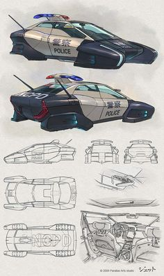 Futuristic Car, Flying Vehicle, Future Police, Jet Arts (Dmitry Popov)