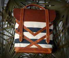 The Coastal Bag in Havana Stripe hand printed by ArcOfADiver