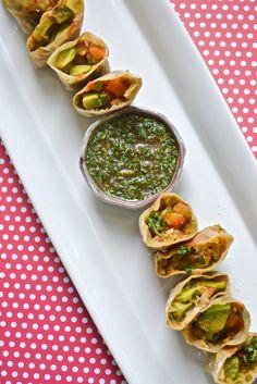 avocado rolls with cilantro sauce
