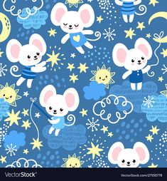 Vector seamless pattern with mice in childish cartoon style. Background picture with animals and stars. Wallpaper Kawaii, Bear Wallpaper, Paper Wallpaper, Free Vector Images, Vector Free, Image Vector, Vector Stock, Betty Boop Cartoon, Tatty Teddy