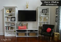 """""""Faux"""" Built-In Living Room Shelves Tutorial"""