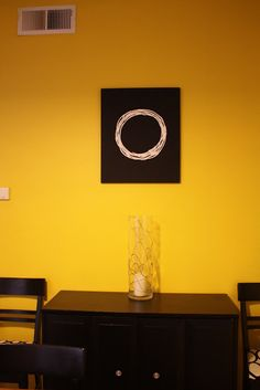 Yellow walls with black and white accents.  More decor inspiration on www.fabeveryday.com Yellow Accent Walls, Yellow Accents, Black Walls, Color Schemes, Wall Lights, Chrome, Black And White, Creative, Room