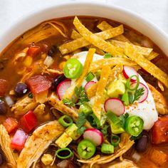 Chicken tortilla soup from scratch on the stove top in just 30 minutes! Chicken tortilla soup on the stove top in just 30 minutes! Shredded white meat, bold seasonings, spicy chilis, fire roasted tomatoes, and corn tortillas. Healthy Chicken Tortilla Soup, Chicken Soup Recipes, Easy Tortilla Soup, Sopa Tortilla, Best Tortilla Soup Recipe, Mexican Tortilla Soup, Chicken Taco Soup, Mexican Chicken, Gastronomia