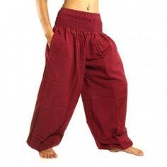 pantalones harén alta rojo de corte