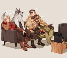 Venom, Kaz and Ocelot playing the PS4.