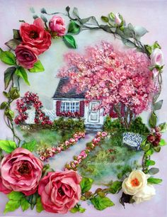 """Embroidered picture """"Unforgettable fable """", Silk ribbon embroidery 3D effect,silk ribbon embroidery di SilkRibbonembroidery su Etsy"""