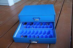 jewelry organization. Drawer box + ice cube trays all from Walmart.