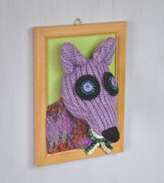 Purple fox, old fox portrait, handmade  Soft portrait of old purple fox :) It can be original gift for kids and adults.  External dimensions of frame: 9 × 6.7 mm (23 × 17 cm)   Made in a smoke free house.  Ready to ship.  Please check dimensions carefully. Due to lighting conditions and monitor settings, colors may appear slightly different, than they are. Items are described to the best of my knowledge. I do not try to mislead customers or misrepresent my items. If any error occurs in a…