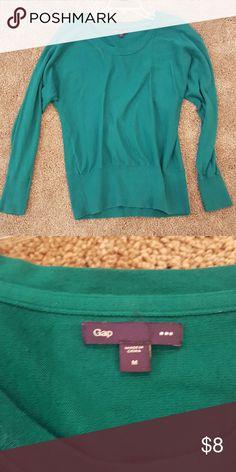 Emerald green GAP sweater Beautiful emerald green GAP sweater with scoop neck. 100% cotton. GAP Sweaters Crew & Scoop Necks