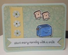 Lawn Fawn start the day with a smile card