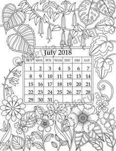 HAPPY NEW YEAR !!! Welcome year 2018 with this intricate calendar, based on my original artwork and has been turned into coloring page for you to enjoy. This image can be coloured as it is or you can make it into a beautiful wall hanging calendar for you and your loved ones. PRINT AT HOME