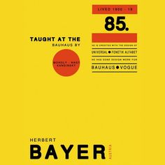 Info about Herbert Bayer set up in his style. Designed by Gemma Clough (me!) in 2006