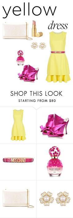 Yellow and fresh by wasan2008 on Polyvore featuring Oscar de la Renta, Yves Saint Laurent, Moschino, Too Faced Cosmetics and Marc Jacobs