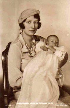 Crown Princess Martha, née Princess Martha of Sweden, and her daughter, Princess Astrid
