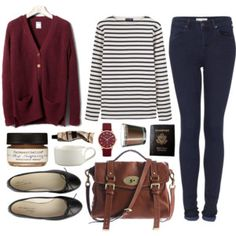 Striped Shirt Knitted cardigan Leather accessories Deep red