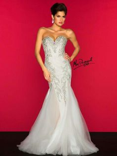 Mac Duggal Style 81901 R - Nothing says romance quite like a beautiful  white mermaid style evening gown. Strapless sweetheart gown has heavy beaded  lace ... 8ae40fe6f076