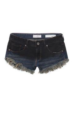 Denim dark dipped jean shorts.