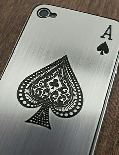 Slick, brushed stainless steel, ace of spades