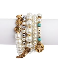 Look at this #zulilyfind! Turquoise & Burnished Goldtone Faux Pearl Stretch Bracelet Set #zulilyfinds