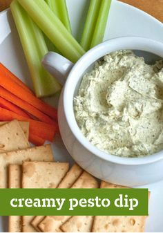 Creamy Pesto Dip – Try this dip recipe out at your next football party. Everyone is sure to enjoy it!