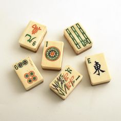 Vintage bone and bamboo Mah Jong tiles.