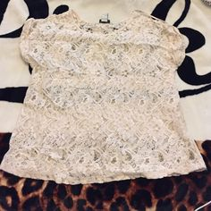 • submit an offer • See through lace cream top. Good condition. Forever 21 Tops Tees - Short Sleeve