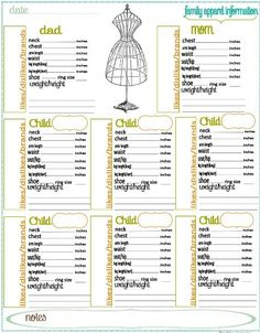 many printables for household management notebook; this one is for recording sizes. Great for shopping.