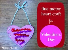 Valentine's Day Fine Motor Heart Craft - pinned by @PediaStaff – Please Visit  ht.ly/63sNt for all our pediatric therapy pins