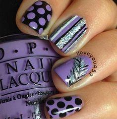 violet pastel pois, rayures noir et argent