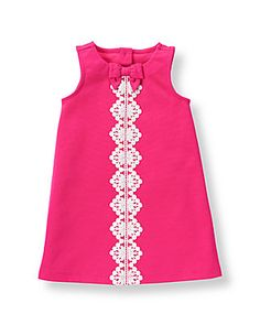Crochet Dresses Design Pretty ponte shift dress in a vivid hue features a crochet design. A bow accent and back buttons complete the sweet style. - Spandex Ponte Di Roma Bloomer Included In Sizes Up To Months Machine Washable; Baby Girl Frocks, Frocks For Girls, Little Girl Dresses, Girls Dresses, Girls Frock Design, Baby Dress Design, Baby Girl Dress Patterns, Baby Frocks Designs, Kids Frocks Design
