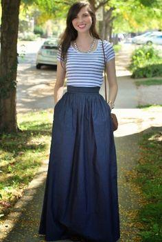 Chambray Denim Cotton Skirts, Ruched Pleat Full Skirts Womens designer fashion - Ladies Skirts - Women's Skirts - Skirts for Women CL0031265   eShakti