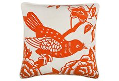 Perch 18x18 Pillow, Orange by Thomas Paul.  $49.  Flip side has same design but color reversed.  Awesome!