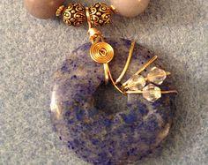 Old Lavender Lace Lapis Lazuli Donut Wire Wrap Necklace