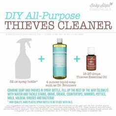 DIY Thieves Cleaner Recipe, non toxic, smells awesome, kills germs