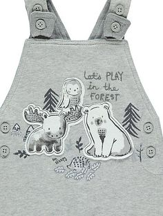 53847a9c269e5 Grey Bear Dungarees and Bodysuit Outfit