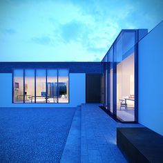 d house front dusk D House, House Front, Dusk, Sweet Home, Contemporary, Mansions, House Styles, Building, Minimalist Architecture