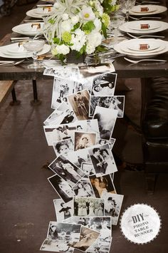 This table runner made from reprinted family photos — both vintage and modern. | 21 Incredibly Gorgeous Wedding DIYs That You Can Actually Do