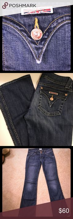 Lightly worn beautiful Hudson jeans Lightly one Hudson jeans always got compliments on war a few times , inseam of 31 inches size 27 supersoft to ( light flare on the bottom very subtle and cool) no marks no scuffs no alterations H By Hudson Jeans Boot Cut