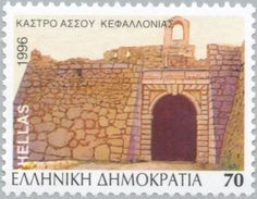 Picture of GREECE - CIRCA stamp printed by Greece, shows Assos Cephalonia, circa 1996 stock photo, images and stock photography. Greek Castle, Greece Pictures, Stamp Printing, Stamp Collecting, Postage Stamps, Taj Mahal, Germany, Stock Photos, Andorra