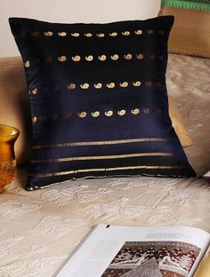 Buy vy Navy Handloom Silk Cushion Cover 16in x 15.5in Home Textiles Cushions Silken Lore Baluchari Covers and More from Bengal Online at Jaypore.com Bolster Cushions, Throw Pillows, Indian Textiles, Perfect Pillow, Bengal, Home Textile, Cushion Covers, Upholstery, Silk
